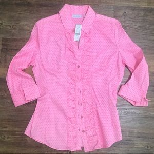 NWT NY&Co Hot Pink Button Up